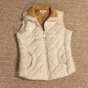 coldwater creek cream & taupe puffer vest